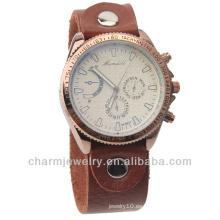 Venta al por mayor reloj de cuarzo de cuero genuino hombres marrón WL-019