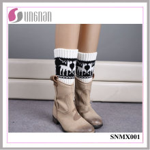 2015 Europe High Quality Multicolor Elk Leg Warmers Knitted Socks