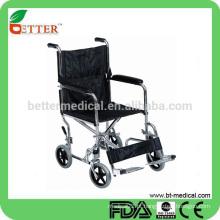 Carro de aço cromado Ortopedia cadeira de rodas