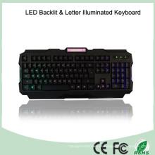 ABS Materialien Helligkeitsregelung LED Beleuchtete Gaming Tastaturen (KB-1901EL-LB)