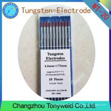 WT-20 2% Thoriated RED 4.0mm 5/32 '' TIG eletrodos de tungstênio