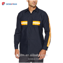 OEM Custom Long Sleeves 65% Polyester 35% Cotton Safety Uniform Mens Industrial Hi Vis Reflective Work Shirts
