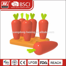 New design carrot style plastic ice lolly maker/ice pop mold 6PCS