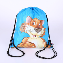 Waterproof Reusable Polyester Drawstring Backpack Shopping Tote Bag Promotion