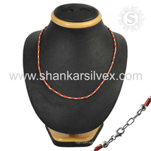 Collar de plata espectacular de la piedra preciosa del coral rojo venta al por mayor 925 joyería india de la joyería de la plata esterlina