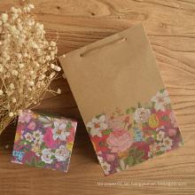 Blumen-Kraftpapier-Geschenk-Tasche mit Griff-bunten Druck-Hochzeitsfest-Beutel-Geschenk-Papiertüten