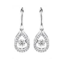 925 silberne Bolzen-Ohrringe mit dem Tanzen-Diamant-Großverkauf