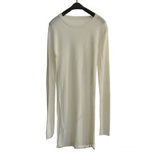 Spring Long Round Neck Knit Women Knitwear with One Side Split