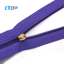 factory prices high quality long chain nylon zipper for garment accessories