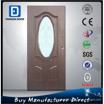 Rustic Wood Look Decorated Arch Toughened Glass Entry Steel Door