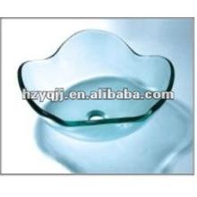 tempered clear lotus flower glass bathroom sink