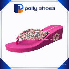 Womens Platform High Wedge Heel Flip Flop Printed Beach Slipers
