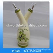 Fabuloso diseño botellas de vinagre decorativo de cerámica con dos tapas