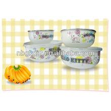 5pcs enamel storage bowl sets with PP cover