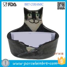 Titular de la tarjeta de identificación de cerámica lindo gato al por mayor
