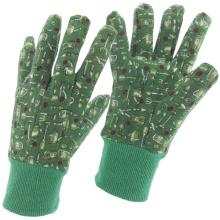 Fine Printed-Flower Jersey Cotton Work Industrial Safety Garden Gloves (41011)