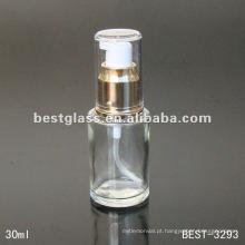 Frasco cosmético da fundação 30ml com a bomba de alumínio do ouro