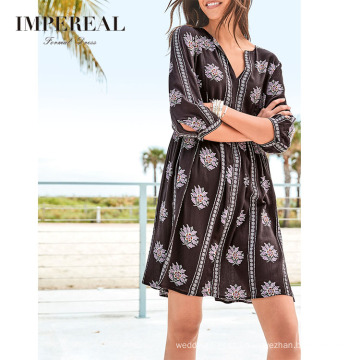 V Neck Floral Printed New Fashion Summer Casual Mini Vintage Dresses