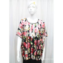 Lady Fashion Flower Printed Polyester Knitted Spring Hollow Shirt (YKY2208)