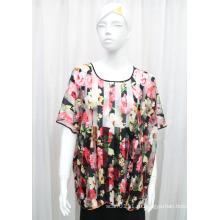 Леди мода цветок печатных полиэстер трикотажные Весна полые рубашка (YKY2208)