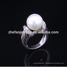 2018 nova moda prata esterlina configurações do anel de pérola