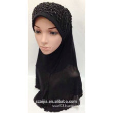 Fashion new ladies solid muslin scarf with jewellery