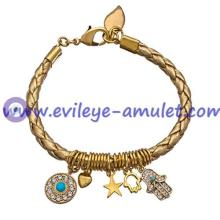 Evil Eye And Hamsa Gold Braided Leather Charm Bracelet