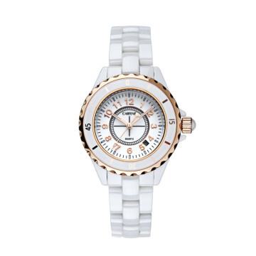 Blanco con tonos dorados rosa acentos Relojes de cerámica retro Virginia