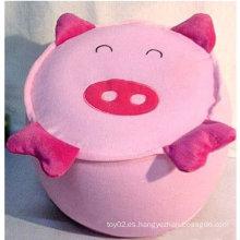 Precioso y práctico felpa de cerdo Inflable taburete