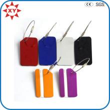 Étiquette de bagage en métal coloré OEM en aluminium