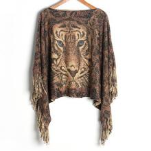 Womens Sweater Cardigan Wraps Lurex Tiger impressão inverno malha xailes poncho (SP611)