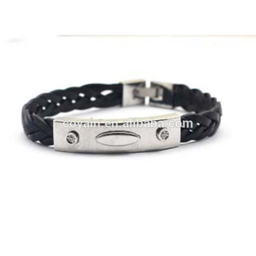 European and American Charm Genuine Leather Woven Cuff Bracelet