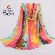 Lingshang newest design silk feel girl dress fashionable camouflage color chiffon scarf wholesale