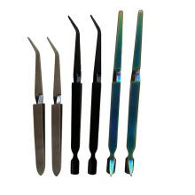 Long Handle Cross lock tweezers titanium Plating Tweezer Stainless Steel
