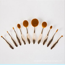 Rose Gold Private Label 10PCS Oval Tooth Makeup Brush Set
