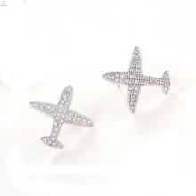 Anti Allergie Stud Flugzeug Ohrringe Silberschmuck, S925 Sterling Silber Flugzeug Ohrringe