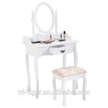 Vanity Wood Makeup Schminktisch Hocker Set Schmuck Schreibtisch W / Schublade & Spiegel Badezimmer Weiß