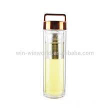 New Arrival Christmas Gift BPA Free Leakproof Wide Mouth Double Wall BorosilicateTea Glass Tumbler With Copper Lid