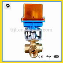 DC12 voltage 3-way T-flow brass motorized valve with DN40 valves for water treatment project