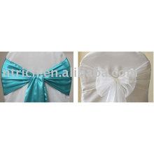 Синяя атласная лента, Белый органзы ленты, стул галстук/накидки