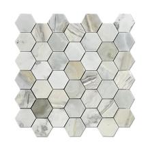 Natural Stone Pieces Backsplash Hexagon Marble Mosaic Tiles on Mesh