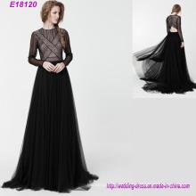 New Fashion Langarm Abendkleid Elegant Slim Lady Formelle Kleidung