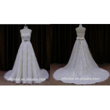 Lin065b высокое качество красивые кружева без бретелек свадебное платье с поясом