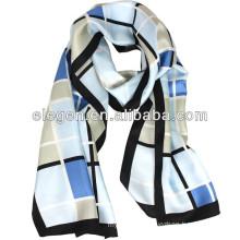 Men &Women High Quality Silk Temperament Check Scarf /Shawl