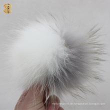 Luxus große weiße und hellgraue Waschbär Pelz Ball Tier Pelz Ball Schlüsselkette