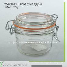 125ml Jarro de almacenamiento de vidrio con clip de tapa de cristal Canister de venta al por mayor