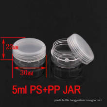 5g Clear Screw Lids Plastic Empty Cosmetic Pot Jar, Travel Cream Jar