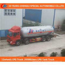 Caminhão do LPG 12wheels, caminhão de tanque do LPG 35000liters
