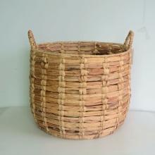 Cesta de almacenamiento redonda tejida jacinto
