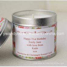 Vela de lata perfumada com frutas personalizadas para decoração